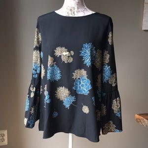 NWT Apt. 9 Black Floral Blouse